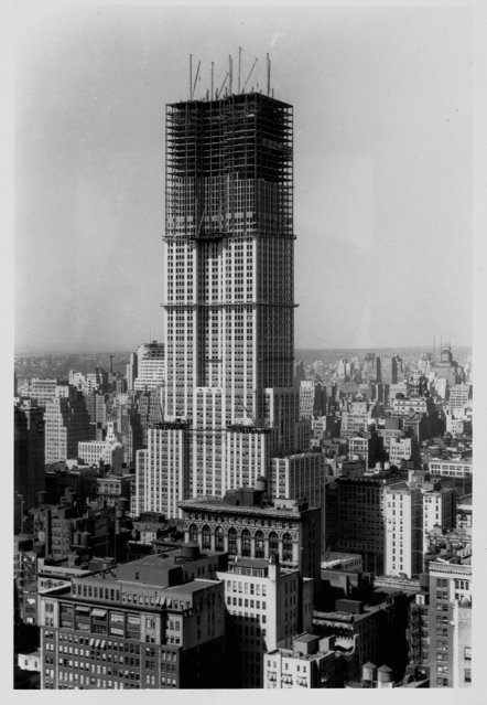 Aerial photo of the Empire State Building under construction. Photograph ca. 1930. (Photo by Bettmann/Getty Images)