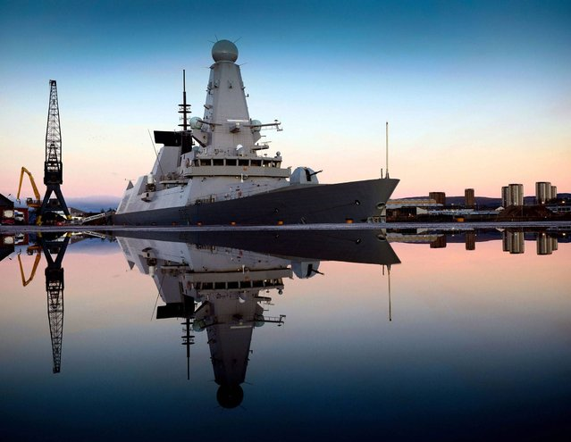HMS Defender alongside Glasgow, her affiliated city by L(Phot) Will Haigh which won the Navy News Award in the annual Peregrine Trophy awards. (Photo by Will Haigh/PA Wire)