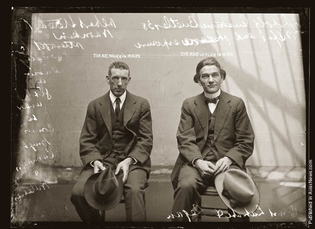 Mug shot of Albert Stewart Warnkin and Adolf Gustave Beutler, 18 October 1920, Central Police Station, Sydney