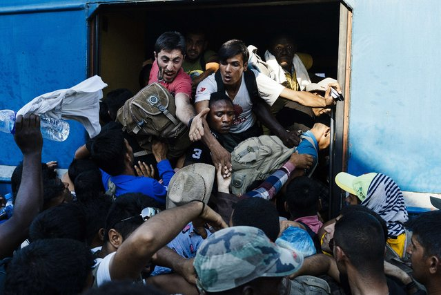 Migrants rush as they try to get on a train heading to the border with Serbia at the train station of Gevgelija, on the Macedonian-Greek border, on August 9, 2015. Non-EU Serbia's frontier with Hungary, which is in the bloc's passport-free Schengen zone, has become a major crossing point for the huge numbers of migrants entering the EU. (Photo by Dimitar Dilkoff/AFP Photo)