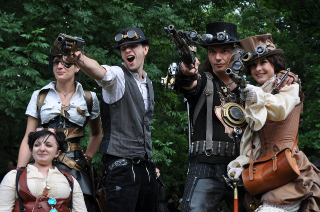 Gothic enthusiasts pose during the annual Wave-Gotik-Treffen music festival on May 26, 2012 in Leipzig, Germany