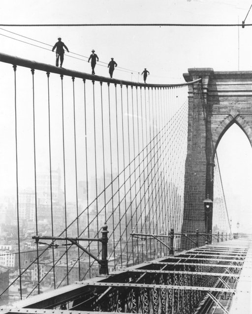 Four men climbing Brooklyn Bridge in New York City as part of a test for applicants wishing to be appointed to paint the bridge. (Photo by Topical Press Agency/Getty Images)