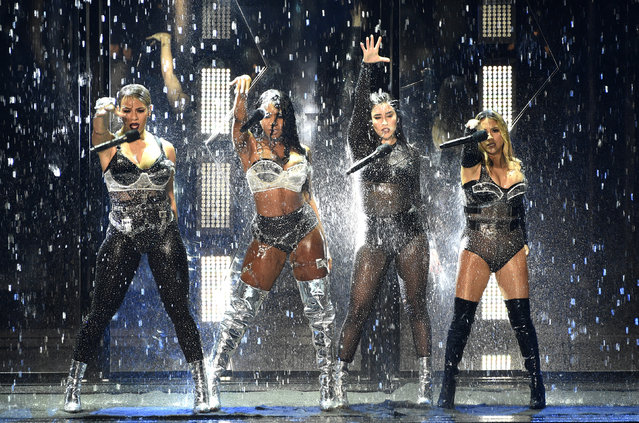 Dinah Jane, from left, Normani Kordei, Lauren Jauregui, and Ally Brooke of Fifth Harmony perform a medley at the MTV Video Music Awards at The Forum on Sunday, August 27, 2017, in Inglewood, Calif. (Photo by Chris Pizzello/Invision/AP Photo)