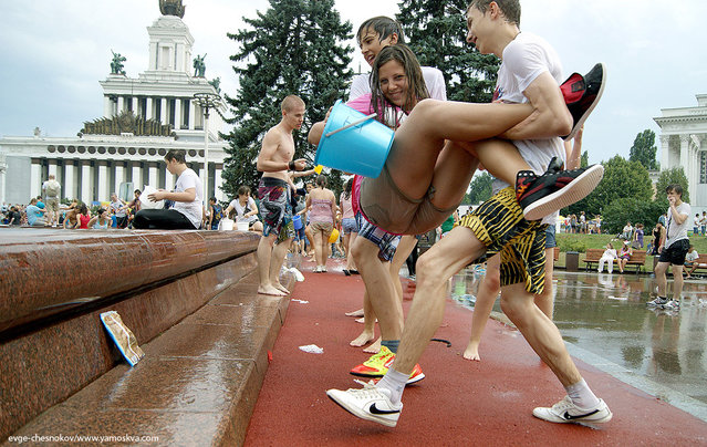 Flashmob: Water Battle on All-Russian Exhibition Center in Moscow, Russia, on August 5, 2012