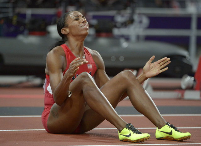 August 8, 2012; London, United Kingdom; Lashinda Demus (USA) reacts after finishing second in the women's 400m hurdles in 52.77 during the London 2012 Olympic Games at Olympic Stadium. (Photo by Kirby Lee/USA TODAY Sports)