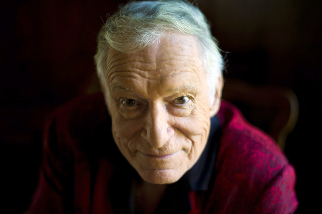 In this October 13, 2011 photo, American magazine publisher, founder and Chief Creative Officer of Playboy Enterprises, Hugh Hefner at his home at the Playboy Mansion in Beverly Hills, Calif. (Photo by Kristian Dowling/AP Photo)