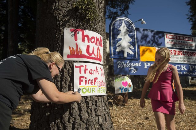 """Angela Warden displays a """"thank you"""" sign for firefighters battling the King Fire in Pollock Pines, California September 17, 2014. (Photo by Noah Berger/Reuters)"""