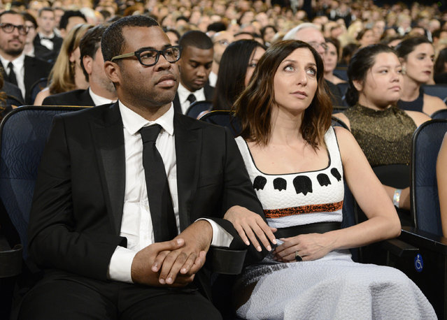 Jordan Peele, left, and Chelsea Peretti seen in the audience at the Television Academy's Creative Arts Emmy Awards at Microsoft Theater on Saturday, September 12, 2015, in Los Angeles. (Photo by Dan Steinberg/Invision for the Television Academy/AP Images)