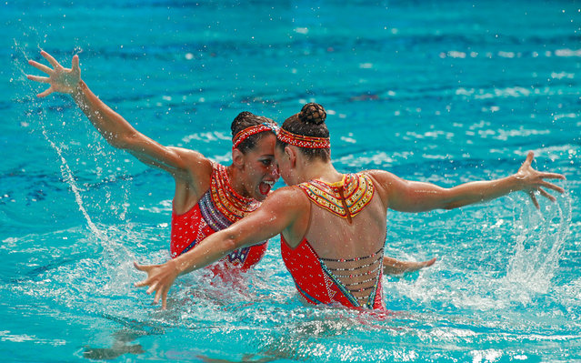 Laura Auge and Margaux Chretien of France compete in the Synchronised Swimming Duets Free Routine final on Day 11 of the Rio 2016 Olympic Games at the Maria Lenk Aquatics Centre on August 16, 2016 in Rio de Janeiro, Brazil. (Photo by Adam Pretty/Getty Images)