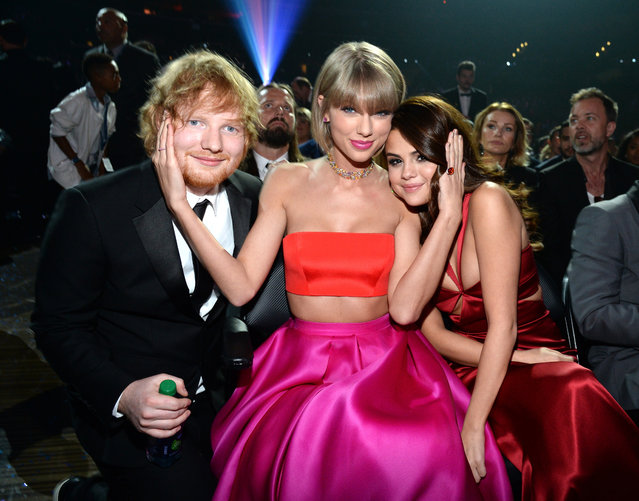 Ed Sheeran, Taylor Swift and Selena Gomez attend The 58th GRAMMY Awards at Staples Center on February 15, 2016 in Los Angeles, California. (Photo by Kevin Mazur/WireImage)