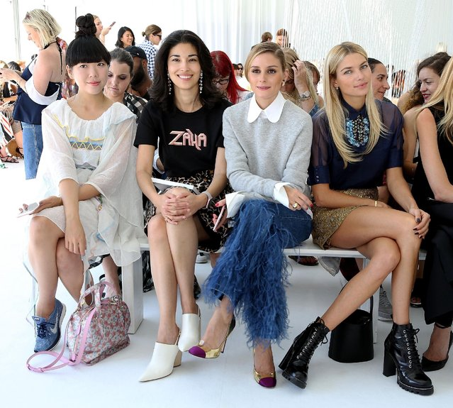 Susie Bubble, Caroline Issa, Olivia Palermo and model Jessica Hart attend Delpozo Front Row September 2016 during New York Fashion Week at Pier 59 Studios on September 14, 2016 in New York City. (Photo by Robin Marchant/Getty Images)