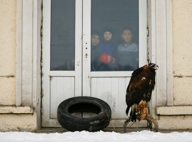 Children watch the annual competition of hunters with tamed eagles during the annual hunters competition at Almaty hippodrome, Kazakhstan on February 8, 2018. (Photo by Shamil Zhumatov/Reuters)