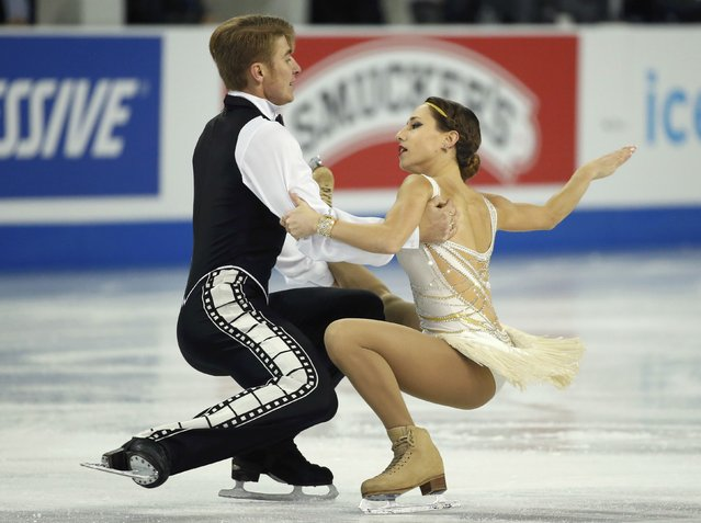 Kristina Astakhova and Alexei Rogonov of Russia perform during the Pairs short program at the Skate America figure skating competition in Milwaukee, Wisconsin October 23, 2015. (Photo by Lucy Nicholson/Reuters)