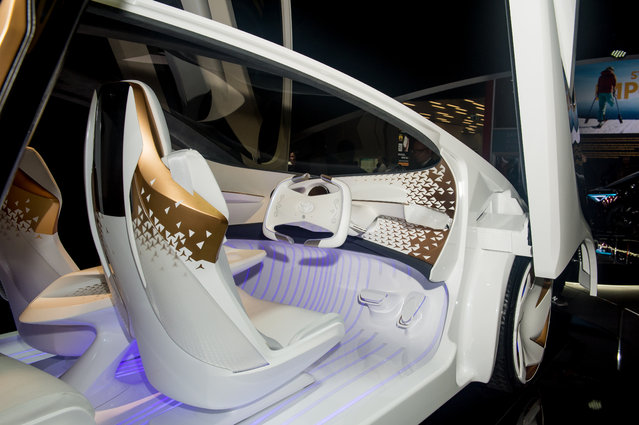 Interior of Toyota Concept-i at the 88th Geneva International Motor Show on March 6, 2018 in Geneva, Switzerland. Global automakers are converging on the show as many seek to roll out viable, mass-production alternatives to the traditional combustion engine, especially in the form of electric cars. The Geneva auto show is also the premiere venue for luxury sports cars and imaginative prototypes. (Photo by Robert Hradil/Getty Images)