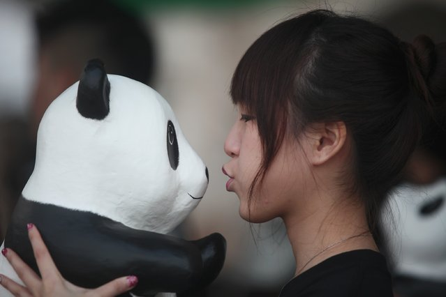 A Malaysian women look at the panda during 1600 Pandas World Tour in Malaysia  on December 21, 2014 in Kuala Lumpur, Malaysia. (Photo by Samsul Said/Getty Images)