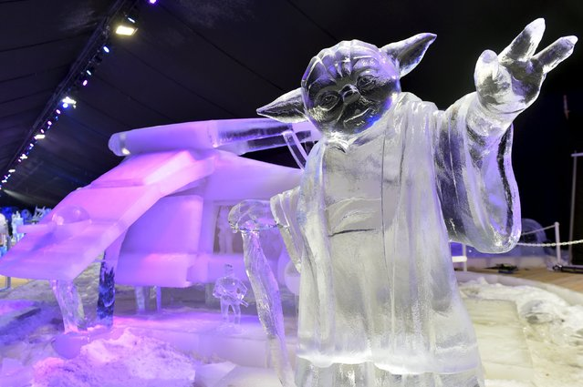 An ice sculpture depicting Star Wars character Yoda is pictured at the ice sculpture festival in Liege, Belgium, November 13, 2015. (Photo by Eric Vidal/Reuters)