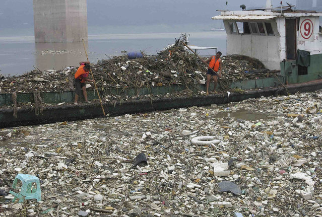 Workers collect floating garbage onto a boat near the Three Gorges reservoir, on a section of the Yangtze River in Yunyang county, Chongqing municipality, September 24, 2013. (Photo by Reuters/Stringer)