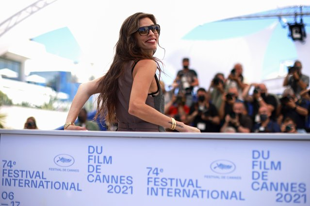 """French actress Maiwenn poses during a photocall for the film """"Tralala"""" at the 74th edition of the Cannes Film Festival in Cannes, southern France, on July 14, 2021. (Photo by Sarah Meyssonnier/Reuters)"""