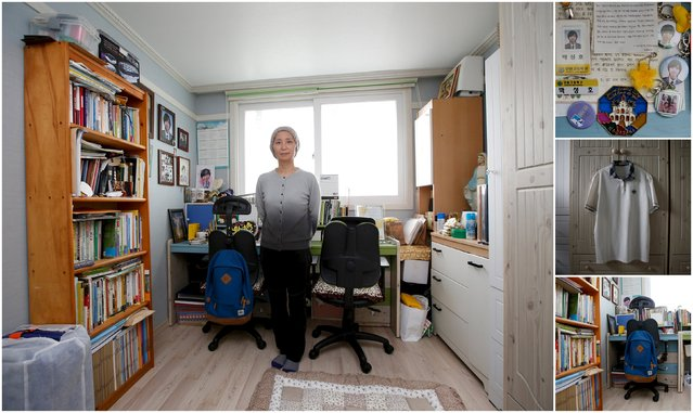 "A combination picture shows Jung Hye-suk, mother of Park Sung-ho, a high school student who died in the Sewol ferry disaster, as she poses for a photograph in her son's room, as well as details of objects, in Ansan April 7, 2015. Jung said: ""Good children have died because of adults' faults. (Photo by Kim Hong-Ji/Reuters)"