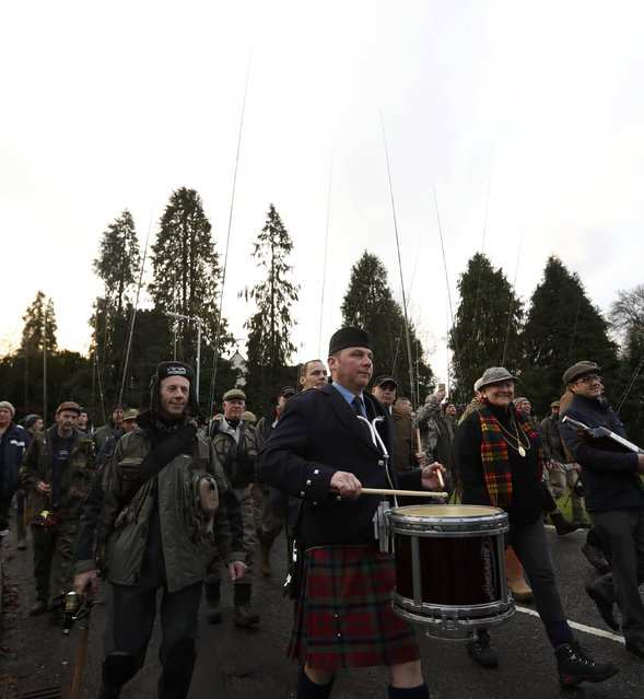 Anglers march to the river behind the Vale of Atholl pipe band on the opening day of the salmon fishing season on the River Tay at Kenmore in Scotland, Britain January 16, 2017. (Photo by Russell Cheyne/Reuters)