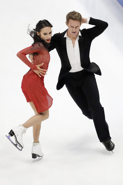 Madison Chock and Evan Bates, of the United States, perform during the ice dance rhythm dance competition at the Four Continents Figure Skating Championships on Friday, February 8, 2019, in Anaheim, Calif. (Photo by Chris Carlson/AP Photo)
