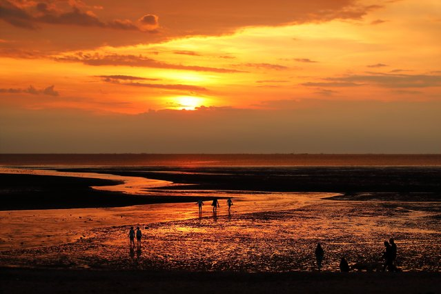People enjoying the golden hues on a lovely end to the day just before sunset at Heacham, Norfolk, United Kingdom, on August 3, 2021. (Photo by Paul Marriott/Rex Features/Shutterstock)