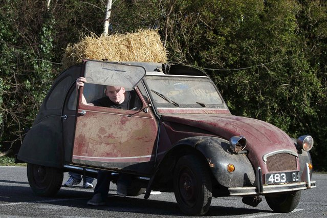"""Classic Car Show in Dublin, on February 28, 2014. Pictured is Paul Keenan from Longford, with his  """"Barn Find"""" Citroen. (Photo by Nick Bradshaw/PA Wire)"""