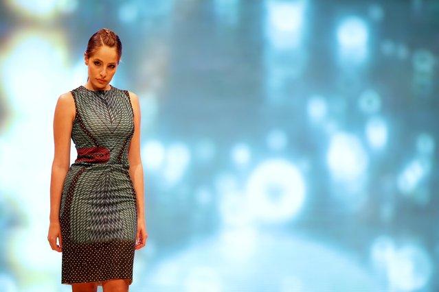 A model presents a creation by designer Julia Boikova of Estonia at the Malta Fashion Awards 2015 at the Marsa Shipbuilding warehouse in Marsa, outside Valletta in Malta, May 16, 2015. (Photo by Darrin Zammit Lupi/Reuters)