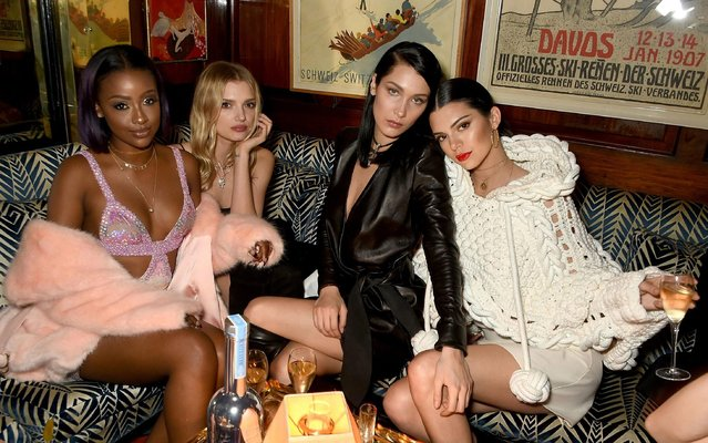 (L-R) Guest, Lily Donaldson, Bella Hadid and Kendall Jenner at the LOVE and Burberry party celebrating Katie Grand and Kendall Jenner's #LOVEME17 in London, UK on February 20, 2017. (Photo by Dave Benett/Getty Images vor LOVE Magazine)