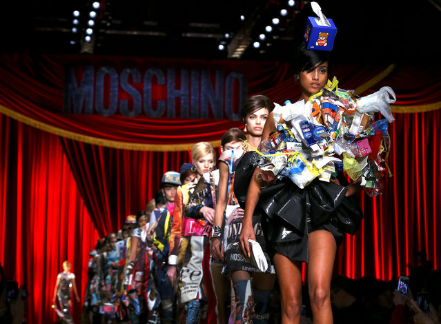 Models parade at the end of Moschino's Autumn/Winter 2017 women's collection during Milan Fashion Week in Milan, Italy, February 23, 2017. (Photo by Stefano Rellandini/Reuters)