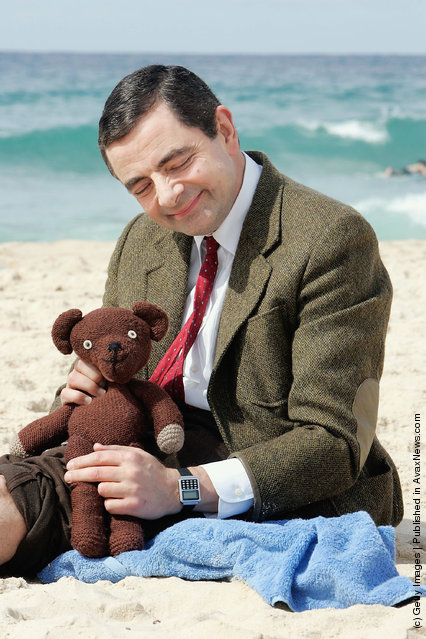 Rowan Atkinson in character as Mr Bean arrives at Bondi Beach to promote his new film Mr Bean's Holiday