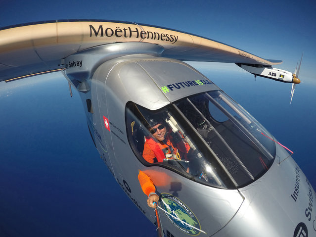 This April 9, 2016 photo provided by Bertrand Piccard via Global Newsroom shows Piccard taking a selfie on board Solar Impulse 2 during a test flight over the Pacific Ocean. The solar-powered airplane on an around-the-world journey had traveled 80 percent of the way from Hawaii to California by Saturday, April 23. The aircraft's destination on this leg of the journey is Mountain View, Calif., at the southern end of San Francisco Bay.  (Photo by Bertrand Piccard/Global Newsroom via AP Photo)