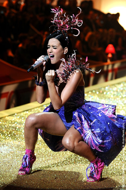 Singer Katy Perry performs during the 2010 Victoria's Secret Fashion Show at the Lexington Avenue Armory on November 10, 2010 in New York City