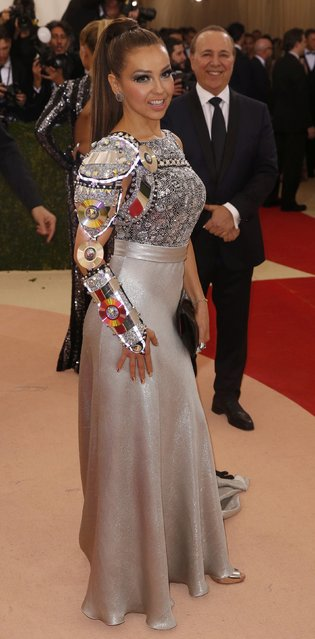 """Singer Thalia arrives at the Metropolitan Museum of Art Costume Institute Gala (Met Gala) to celebrate the opening of """"Manus x Machina: Fashion in an Age of Technology"""" in the Manhattan borough of New York, May 2, 2016. (Photo by Lucas Jackson/Reuters)"""