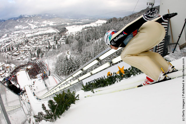 Simon Ammann of Switzerland skis during the FIS Ski Jumping World Cup Vierschanzentournee