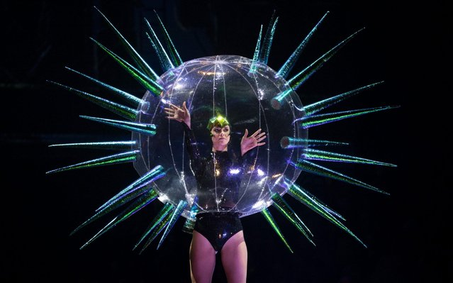 Atomic Virus & Virus Bubble, by Jack Irving of the United Kingdom, is modelled in the Open Section during the World of WearableArt Preview 2019 at TSB Bank Arena on September 25, 2019 in Wellington, New Zealand. (Photo by Hagen Hopkins/Getty Images for World of WearableArt)