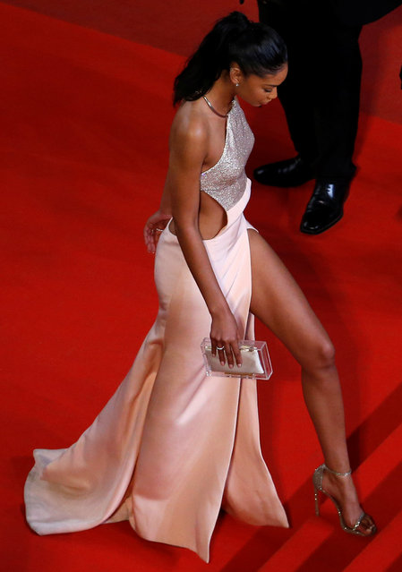 """Model Chanel Iman arrives on the red carpet for the screening of the film """"Hands of Stone"""" out of competition at the 69th Cannes Film Festival in Cannes, France, May 16, 2016. (Photo by Yves Herman/Reuters)"""