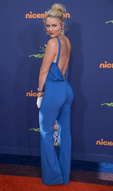 """Olympic skier Lindsey Vonn attends Nickelodeon's """"Kid's Choice Sports 2015"""" in Los Angeles July 16, 2015. (Photo by Phil McCarten/Reuters)"""