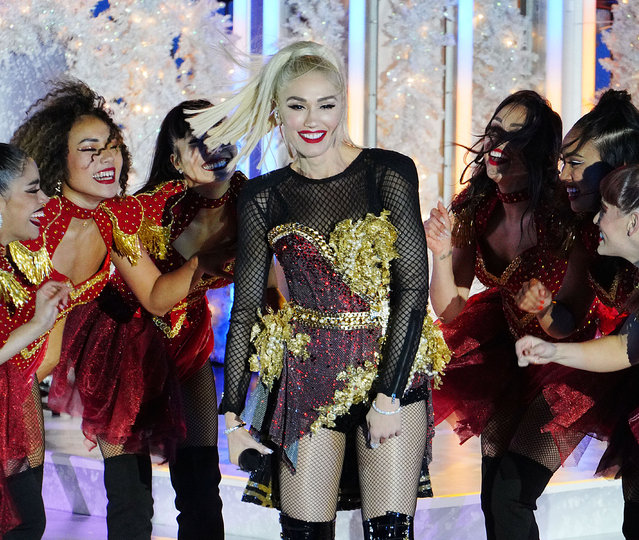 Gwen Stefani pretapes her Christmas eve performance at Rockefeller Center ice rink in New York City on November 14, 2019. (Photo by Splash News and Pictures)
