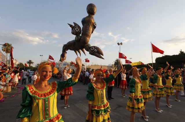 Revellers from Russia parade during the Aoussou Carnival in Sousse, Tunisia July 26, 2015. (Photo by Anis Mili/Reuters)