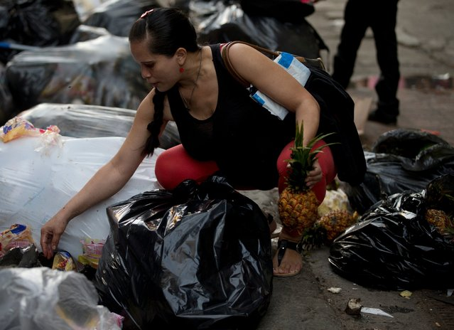 This June 2, 2016 photo shows a pregnant woman who did not want to be named, holding a pineapple in one hand as she continues to pick through garbage bags outside a supermarket in downtown Caracas, Venezuela. Unemployed people converge every dusk at the trash heap to pick through rotten fruit and vegetables tossed out by nearby shops. (Photo by Fernando Llano/AP Photo)