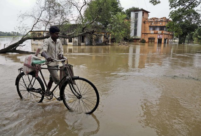 An Indian villager walks his cycle as he crosses a flooded road near partially submerged houses at Udaynarayanpur, about 90 kilometers (56 miles) west of Kolkata, India, Wednesday, August 5, 2015. Though the flood situation has shown improvement Wednesday, several people have lost their lives in India's West Bengal state forcing people to take shelter in state-run relief camps. (Photo by Bikas Das/AP Photo)