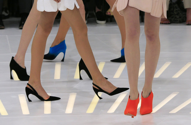Models wear shoes by Belgian fashion designer Raf Simons for Dior's Fall-Winter 2014-2015 Haute Couture fashion collection, in Paris, France, Monday, July 7, 2014. (Photo by Jacques Brinon/AP Photo)