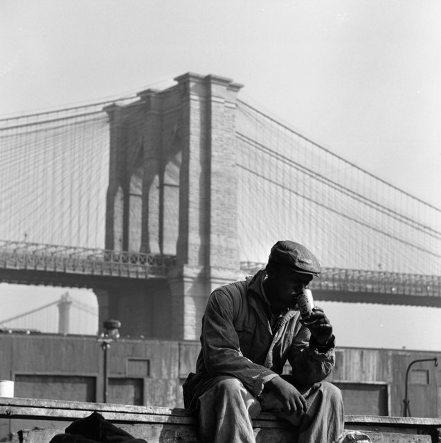 A worker cools off in the heat with a can of cold beer, with Brooklyn Bridge, New York, in the background, 1955. (Photo by Three Lions/Getty Images)