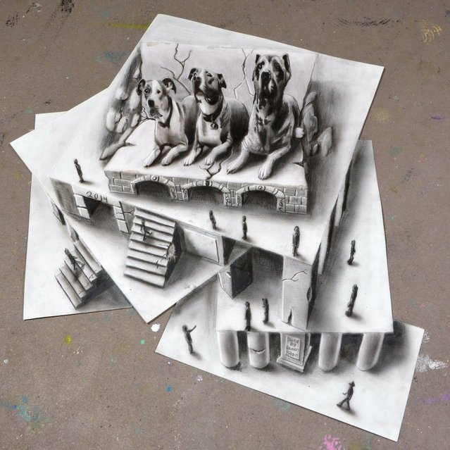 Ramon Bruin's 3D illustration of three dogs on a plinth and people come to view it as a work of art. (Photo by Ramon Bruin/Medavia)