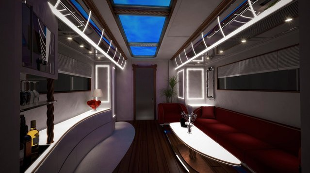 """Here's a vehicle for the one percent. Dubbed as """"the world's most luxurious RV"""" the 40-foot-long EleMMent Palazzo costs a staggering $3million USD – or more depending on the client's personal choices. If the buyer wishes to add a """"top of the range"""" Model D stereo system with """"gold remote control"""" the cost will be bumped by around $200,000. A """"home theatre"""" could add $60,000 but this time the gold remote will be another $6,000. (Photo by Splash News)"""