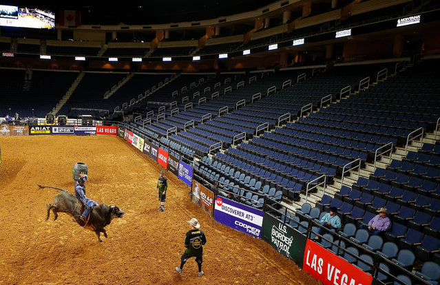 Cody Casper rides Just Al during round 2 on the second day of competition for the PBR Unleash The Beast Gwinnett Invitational at Infinite Energy Center on March 15, 2020 in Duluth, Georgia. The competition is being held behind closed doors to the general public due to the worldwide spread of COVID-19. (Photo by Kevin C. Cox/Getty Images)