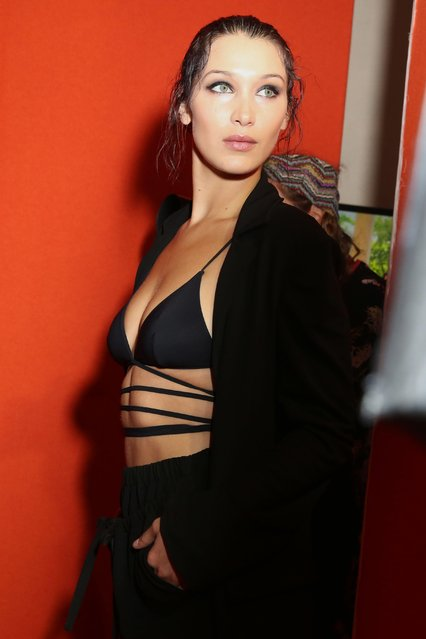 Bella Hadid is seen backstage ahead of the Alberta Ferretti show during Milan Fashion Week Spring/Summer 2018 on September 20, 2017 in Milan, Italy. (Photo by WWD/Rex Features/Shutterstock)