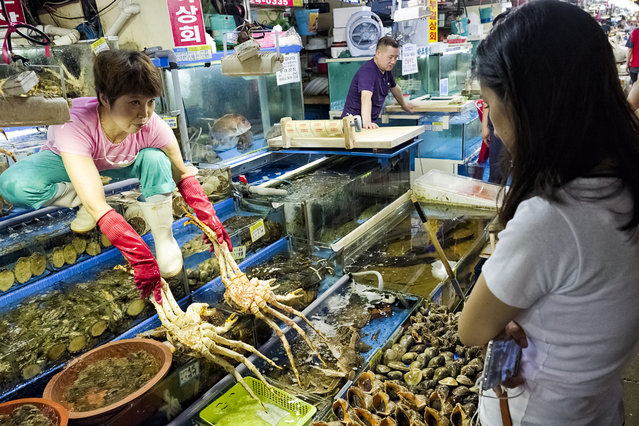 A sales woman of a fish shop shows king crabs to a customer and negotiates the price in Noryangjin Fish Market is seen on August 1, 2015 in Seoul, South Korea. Noryangjin Fish Market was established in 1927 as Gyeongseong Susan in Jung-gu near Seoul Station and moved to its current location in 1971. (Photo by Shin Woong-jae/The Washington Post)