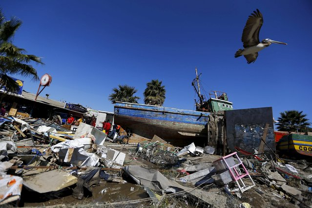 A ship is seen in the street among the rubble after an earthquake hit areas of central Chile, in Coquimbo city, north of Santiago, Chile, September 17, 2015. (Photo by Ivan Alvarado/Reuters)